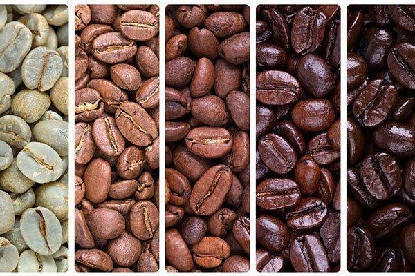 tostatura del caffe: crudo chiara media scura